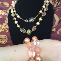 """3pieces jewelry; 2 bracelets & necklace Peach and gold tone beads. 2 bracelets, one double strand necklace. (Hangs as one piece, 30"""")  bracelet is NWT, necklace in mint condition Jewelry Necklaces"""