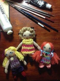 Felt mini dolls,  6cm tall, by Lydia Quayle