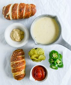 Jalapeño Pretzel Dogs with Cheddar Beer Sauce I howsweeteats.com
