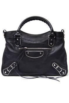 0049e5619a23 Balenciaga Metallic Town Leather Handbag in Black