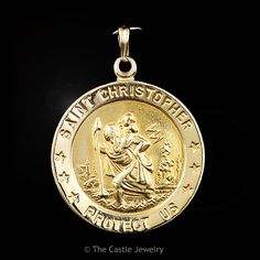 14k Yellow Gold Saint Christopher Coin Pendant 22mm Diameter