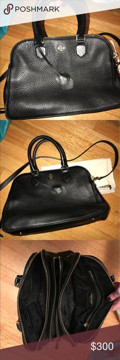 Tory Burch Robinson Triple Zip Satchel EUC black leather Tory Burch Robinson purse.  This purse has top handles and a removable cross body strap.  Comes with dust bag.  Only used this purse for a few months.  This is a great purse for someone who likes to stay organized! Tory Burch Bags Satchels