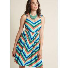 My Sunday Zest A-Line Dress ($80) via Polyvore featuring dresses, apparel, fashion dress, varies, rainbow dresses, sundress dresses, chevron dress, chevron sundress and chevron pattern dress