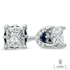 Vera Wang LOVE Collection 1/2 CT. T.W. Princess-Cut Diamond Stud Earrings in 14K White Gold - Zales