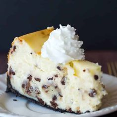 The best cheesecake recipe loaded with chunks of chocolate chip cookie dough and mini chocolate chips - a cookie dough lover's dream!