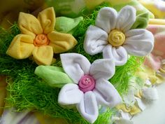 centerpieces made from baby washcloths   Baby Washcloth Flowers made from 7 Infant Washcloths...Large...Baby ...