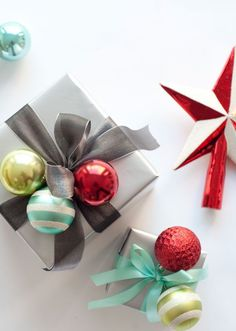 Here's a creative wrapping idea! Wrap presents with cute DIY ornament clusters…