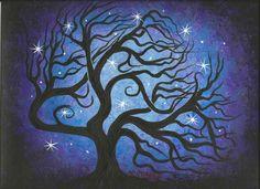 Blue TREE~Stars~Windblown~Original fine art~Acrylic painting by Jordanka Yaretz #Abstract
