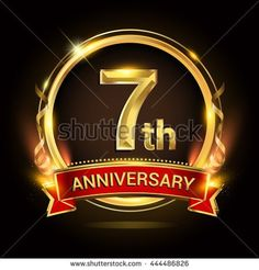 7th golden anniversary logo with ring and red ribbon, vector design. - stock vector