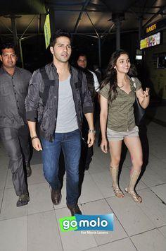 Varun Dhawan & Alia Bhatt snapped at Mumbai Domestic Airport