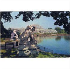 Royal Botanic Gardens, Kew ~ The Palm House & Chinese Guardian Lions ~ c.1970s postcard on #eBid United Kingdom