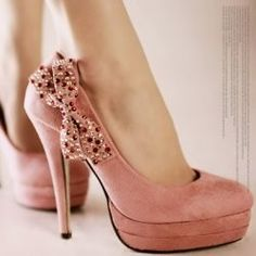 DIAMANTE BOW HIGH HEELS PLATFORM PUMPS SHOES PINK $99.99