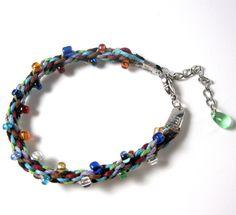 Autism Awareness Bracelet, Beaded, Kumihimo, Woven. $15.00, via Etsy.