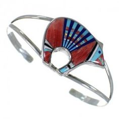 Genuine Silver Multicolor Inlay Bear Cuff Bracelet GS58000-0