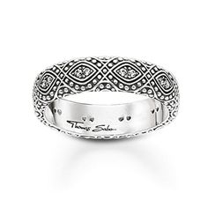 Thomas Sabo Women-Ring Glam & Soul 925 Sterling Silver blackened Zirconia white Size O Thomas Sabo, Thing 1, Silver Color, Cuff Bracelets, Silver Rings, Women Jewelry, Feminine, Sterlingsilber, Stuff To Buy