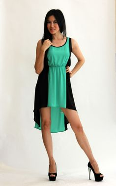 My Beloved - Teal And Black Color-Block Sleeveless High-Low Dress