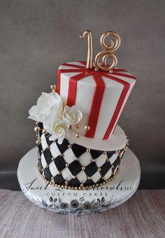 Vintage Circus Theme Topsy Turvy Cake - 18th birthday cake.