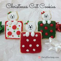 Christmas Cat Cookies tutorial by PartyPinching.com