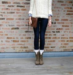 Fall sweater denim combat boots outfit with mini leg warmers