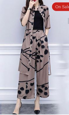 Buy Printed Two-piece Set For Women from Tiana at Stylewe. Online Shopping Style… Buy Printed Two-piece Set For Women from Tiana at Stylewe. Online Shopping Stylewe Chiffon Two-Piece Set For Women Printed Coffee Printed. Fashion Pants, Look Fashion, Hijab Fashion, Fashion Models, Fashion Dresses, Fashion Design, Womens Fashion, Party Fashion, 90s Fashion
