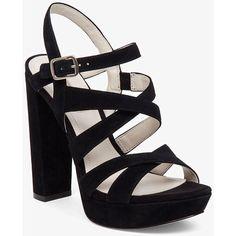 BCBGeneration Morgan High Heel Platform Sandal ($118) ❤ liked on Polyvore featuring shoes, sandals, black, heels, strappy sandals, black platform sandals, black sandals, dressy sandals and ankle strap sandals