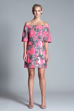 Aliyan Dress from Julian Chang.  Eye-catching pink and silver off-the-shoulder sequined dress.