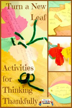 Looking for a Thanksgiving classroom project? Try this spin on the traditional Thanksgiving tree. I love how it focuses students on turning negative thoughts into positive associations. There are several different ideas for displaying the leaves so kids can really make this project their own! http://mrslsleveledlearning.com/2015/11/turn-a-new-leaf-activities-for-thinking-thankfully/