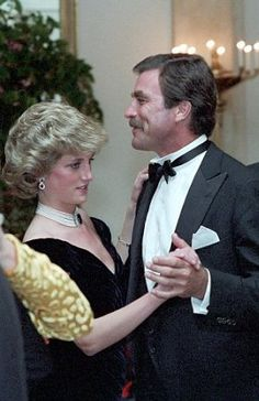 November 9, 1985: Princess Diana dancin with actor, Tom Selleck at a State dinner given by President and Mrs Reagan at the White House, Washington, D.C.