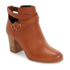Women's Cole Haan 'Bonnell' Buckle Strap Bootie featuring polyvore, women's fashion, shoes, boots, ankle booties, acorn leather, cole haan bootie, chunky-heel ankle boots, ankle boots, chunky-heel boots and short boots