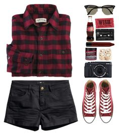 """""""blacre"""" by khansaerika ❤ liked on Polyvore featuring H&M, Converse, NYX, Ray-Ban, Floyd, black and red"""