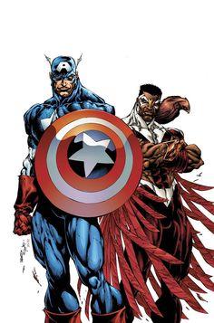 captain america & the falcon by Bart Sears