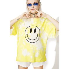 Smiley Face Acid Wash T-Shirt ($28) ❤ liked on Polyvore featuring tops, t-shirts, oversized white tee, tie dyed t shirts, tie dye tee, white graphic tees and graphic tees