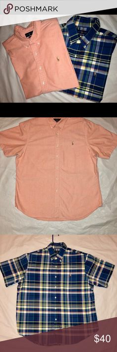 Men's Ralph Lauren Button Down Shirts Selling both shirts together.   One is solid Salmon Colored, the other is navy blue Checkered. Both are in Excellent condition!! From a smoke free pet free home.  Both are XXL Slim Fit.  💯 cotton. Ralph Lauren Shirts Casual Button Down Shirts
