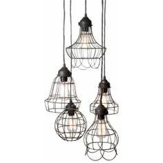 Lazy Susan Wire Five Pendant Lights: ZD Trend Spotting | High Point Industrial Deco: #zincdoor #HPMKT #highpointtrends #industrialdeco