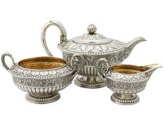Scottish Sterling Silver Three Piece Tea Service - Antique George IV SKU: A3891 Price GBP £3,650.00 http://www.acsilver.co.uk/shop/pc/Scottish-Sterling-Silver-Three-Piece-Tea-Service-Antique-George-IV-96p5906.htm#.VjnwoCs8rfc