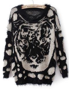Jersey leopardo Tigre manga larga-Negro EUR€23.64