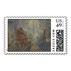 Night after Millet by Vincent Van Gogh Postage Stamp