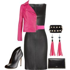 """""""Pink & Black Leather"""" by rochelle-cornelius-earp on Polyvore"""