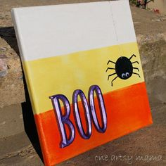 Mod Podge Canvas Wall Art is part of Halloween Canvas crafts HAPPY OCTOBER! Wow, where did September go Fall is officially here and now it's time to really start focusing on all things holid - Halloween Canvas Paintings, Fall Canvas Painting, Simple Canvas Paintings, Halloween Painting, Autumn Painting, Diy Canvas Art, Canvas Wall Art, Canvas Ideas, Fall Paintings