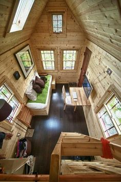 Tiny home interior - great floor, lots of windows