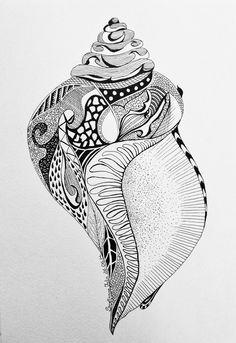 Seashell, gel pen