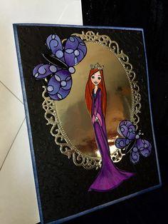 Card handmade fairy tale Princess and a magic by buttonsandbottles