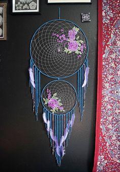 Blue & Lavender Roses Dream Catcher