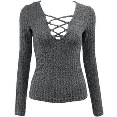 Grey Knitted Lace Up Top Lookbook Store (88 AED) ❤ liked on Polyvore featuring tops, gray top, grey top, lace front top, lace up top and laced up top