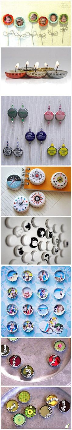 Beautiful Bottle Cap Crafts | DIY  Crafts Tutorials, paint old bottle caps for earrings, magnets, wee little candles, cute picture frames, etc. so cute!. Please also visit www.JustForYouPropheticArt.com for colorful inspirational art. Thank you so much! Blessings! Crafts To Do, Cute Crafts, Diy Projects To Try, Kids Crafts, Easy Crafts, Easy Diy, Bottle Cap Art, Bottle Top, Bottle Cap Jewelry