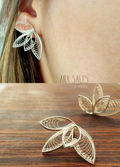 10 Handmade Earrings Ideas with Great Tutorials Filigree Jewelry, Metal Jewelry, Silver Jewelry, Hair Jewelry, Fashion Jewelry, Wire Jewelry Patterns, Earrings Handmade, Jewelry Collection, Jewelry Design