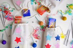 a pretty cool life.: diy freezer paper stencil firework bags