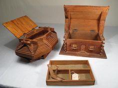 jewlery box Made with Popsicle Sticks | 23: AMERICAN POPSICLE STICK FOLK ART ITEMS 5PCS : Lot 23