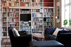 a whole wall of books and a big window with lots of light.