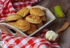 Prekladané bryndzové pagáče s pórikom Healthy Cookies, Pretzel Bites, Hamburger, French Toast, Muffin, Bread, Breakfast, Food, Healthy Crackers